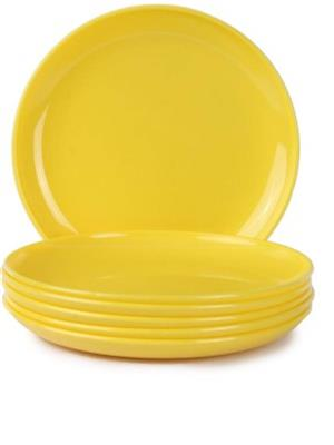 Ghar Sansar GS001 Yellow Plastic Plate Set of 6