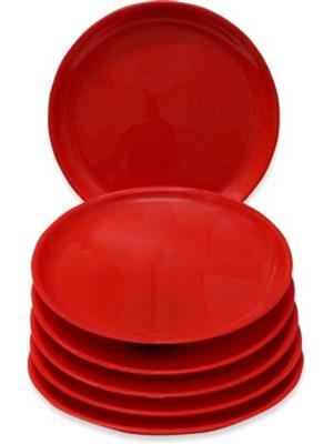 Ghar Sansar GS0028 Red Plastic Plate Set of 6