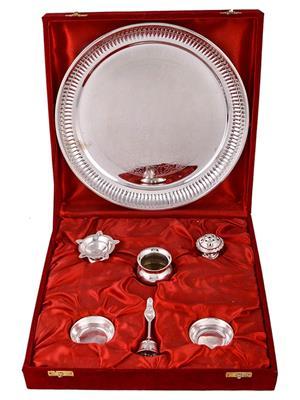 GS Museum GSM124 Silver Pooja Thalis