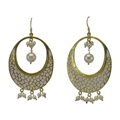 GnJ Filigree Yellow Gold Plated Pearl Sterling Silver Dangle Earring