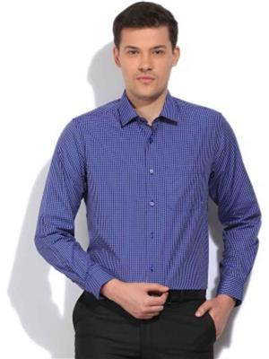 Holstoke H1 Navy Blue Cotton Checked Men Formal Shirt