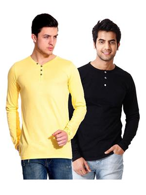 Ansh Fashion Wear HEN-2CM-12 Black-Yellow Men T-Shirt Set Of 2