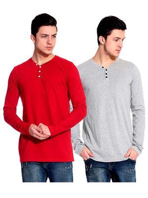 Ansh Fashion Wear HEN-2CM-13 Red-Grey Men T-Shirt Set Of 2