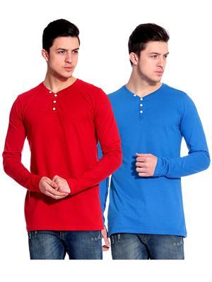 Ansh Fashion Wear HEN-2CM-14 Red-Blue Men T-Shirt Set Of 2