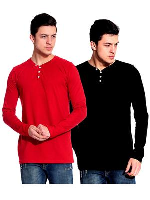 Ansh Fashion Wear HEN-2CM-15 Red-Black Men T-Shirt Set Of 2