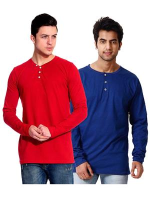 Ansh Fashion Wear HEN-2CM-19 Red-Blue Men T-Shirt Set Of 2