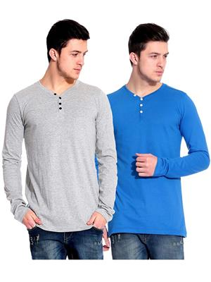 Ansh Fashion Wear HEN-2CM-21 Blue-Grey Men T-Shirt Set Of 2