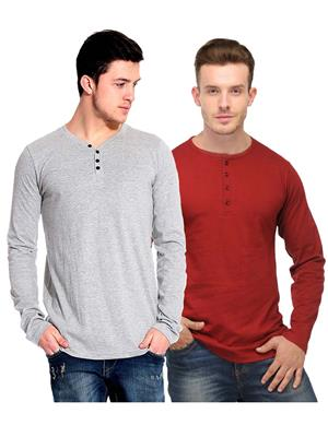 Ansh Fashion Wear HEN-2CM-24 Red-Grey Men T-Shirt Set Of 2