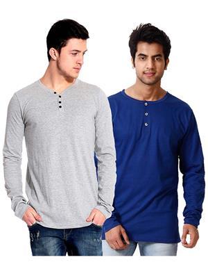 Ansh Fashion Wear HEN-2CM-27 Blue-Grey Men T-Shirt Set Of 2