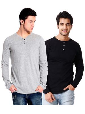 Ansh Fashion Wear HEN-2CM-28 Black-Grey Men T-Shirt Set Of 2