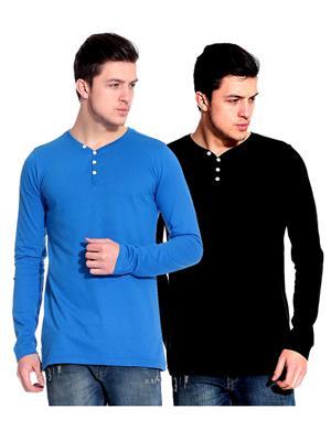 Ansh Fashion Wear HEN-2CM-29 Black-Blue Men T-Shirt Set Of 2