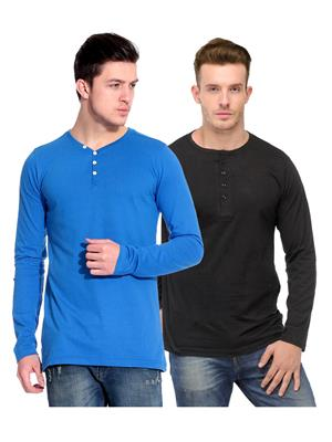 Ansh Fashion Wear HEN-2CM-33 Black-Blue Men T-Shirt Set Of 2