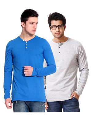 Ansh Fashion Wear HEN-2CM-35 Blue-Grey Men T-Shirt Set Of 2