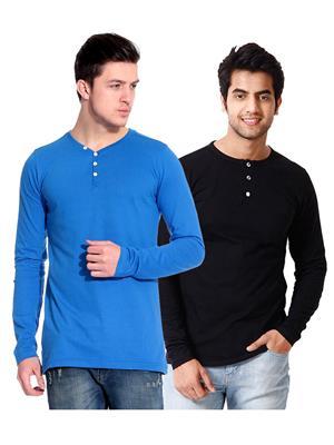 Ansh Fashion Wear HEN-2CM-36 Black-Blue Men T-Shirt Set Of 2