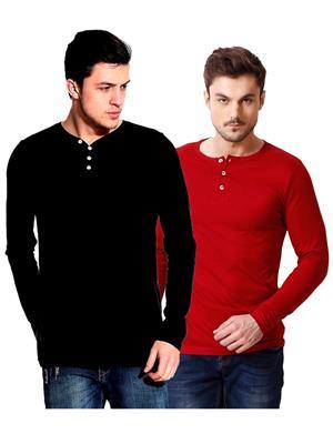 Ansh Fashion Wear HEN-2CM-40 Red-Black Men T-Shirt Set Of 2