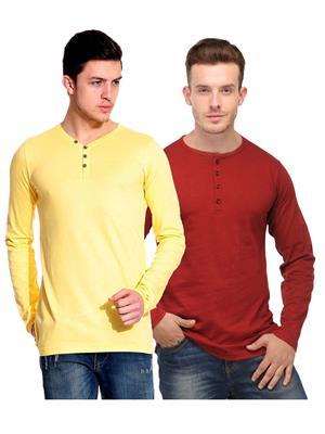 Ansh Fashion Wear HEN-2CM-6 Red-Yellow Men T-Shirt Set Of 2