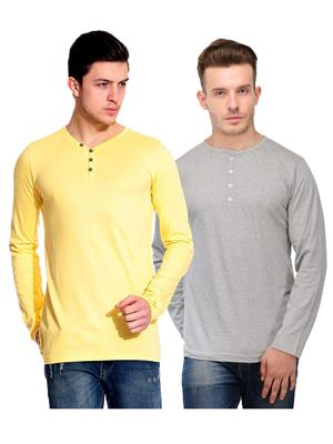 Ansh Fashion Wear HEN-2CM-7 Grey-Yellow Men T-Shirt Set Of 2