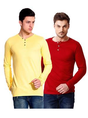 Ansh Fashion Wear HEN-2CM-9 Red-Yellow Men T-Shirt Set Of 2