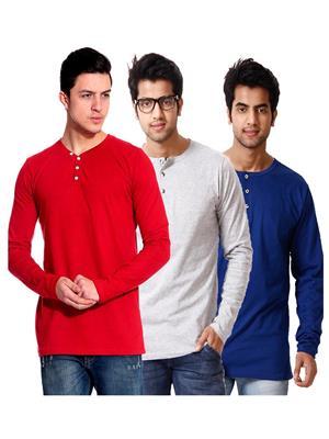 Ansh Fashion Wear HEN-3CM-10 Multicolored Men T-Shirt Set Of 3