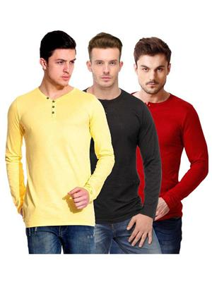 Ansh Fashion Wear HEN-3CM-16 Multicolored Men T-Shirt Set Of 3
