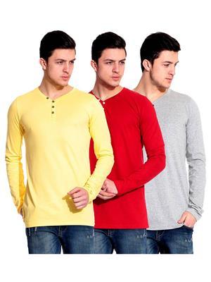 Ansh Fashion Wear HEN-3CM-1 Multicolored Men T-Shirt Set Of 3