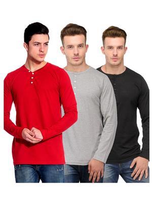 Ansh Fashion Wear HEN-3CM-21 Multicolored Men T-Shirt Set Of 3
