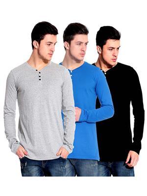 Ansh Fashion Wear HEN-3CM-22 Multicolored Men T-Shirt Set Of 3