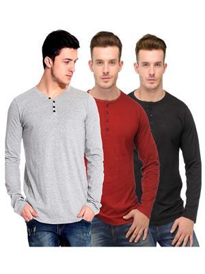 Ansh Fashion Wear HEN-3CM-24 Multicolored Men T-Shirt Set Of 3