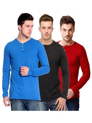 Ansh Fashion Wear HEN-3CM-32 Multicolored Men T-Shirt Set Of 3