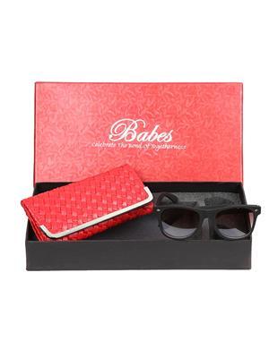 Mango people HOB-GS-09 Women Red Women Clutch with wayfarer Sunglasses