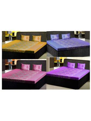 India Furnish Ifbst15074 Multicolored Double Bedsheets With Pillow Covers Combo Of 4 Sets