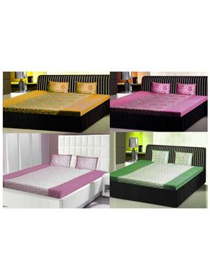 India Furnish Ifbst15141 Multicolored Double Bedsheets With Pillow Covers Combo Of 4 Sets