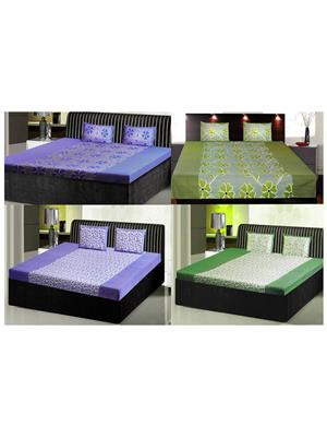 India Furnish Ifbst15159 Multicolored Double Bedsheets With Pillow Covers Combo Of 4 Sets