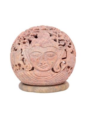 Indikala Ik-01-120 Light Red Marbletea Light Holder Depicting Budha