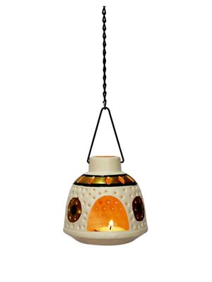 Indikala Ik-01-128 Multicolored White Hanging Tea Light Holder