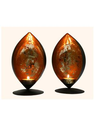 Indikala Ik-01-150 Black-Silver Pair Of Bowl Shaped Candle Stands