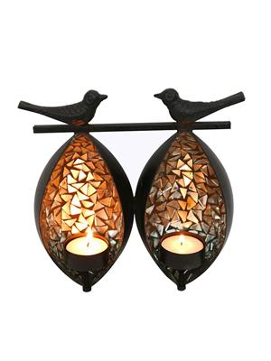 Indikala Ik-01-239 Silver-Black Twin Birds Tea Light Holder