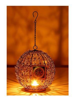 Indikala Ik-01-322 Multicolored Hanging Tea Light Holder With Worli Work