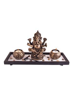 Indikala Ik-01-331 Copper Gold Ganesha Tea Light Holders