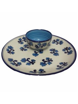 Indeasia Srijan ISC000071 Microwave Proof Blue And White And Lead Free Snacks Plate With Sauce Dip