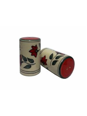 Indeasia Srijan ISC000092 Lead Free Salt And Pepper Set Floral design green- Red Combination