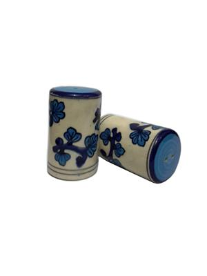 Indeasia Srijan ISC000093 Lead Free Salt And Pepper Set Floral design Blue - White Combination