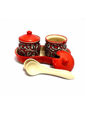 Indeasia Srijan ISC000103 Lead Free Pickle Set Of 7 pieces Red Mughal Design