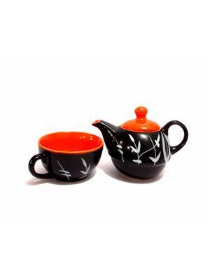 Indeasia Srijan ISC000105 Lead Free One Cup Kettle Set Black & Orange Floral Design