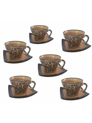 Indeasia Srijan ISC000112 Cup Saucer Brown Set of 6 Heritage Design