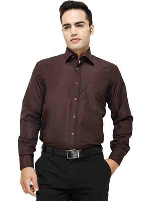 Jains J-3  Brown Mens Cotton Formal Shirt