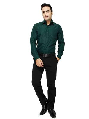 Jains J-4  Green Mens Cotton Formal Shirt