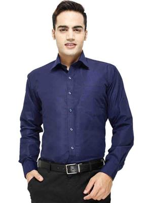 Jains J-5  Navy Blue Mens Cotton Formal Shirt