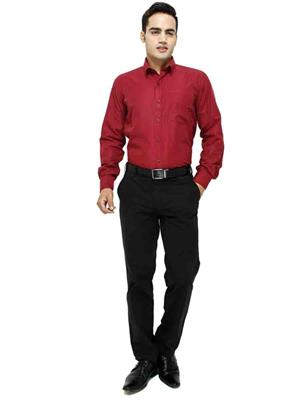 Jains J-7  Red Mens Cotton Formal Shirt