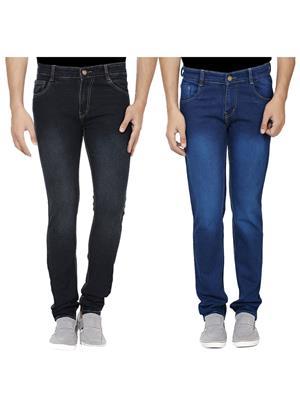 Ansh Fashion Wear J-BLK-RM1NEVY-1 Multicolored Men Jeans Set Of 2